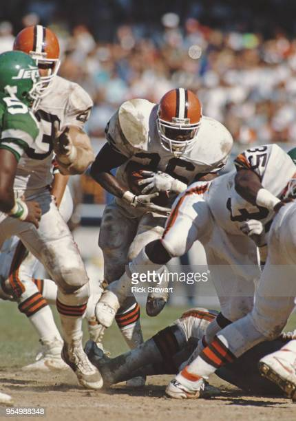 Keith Jones Running Back for the Cleveland Browns runs the ball during the American Football Conference Central game against the New York Jets on 17...