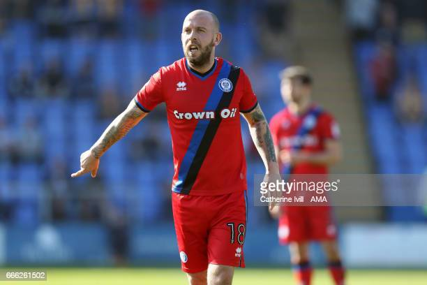 Keith Keane of Rochdale during the Sky Bet League One match between Shrewsbury Town and Rochdale at New Meadow on April 8 2017 in Shrewsbury England