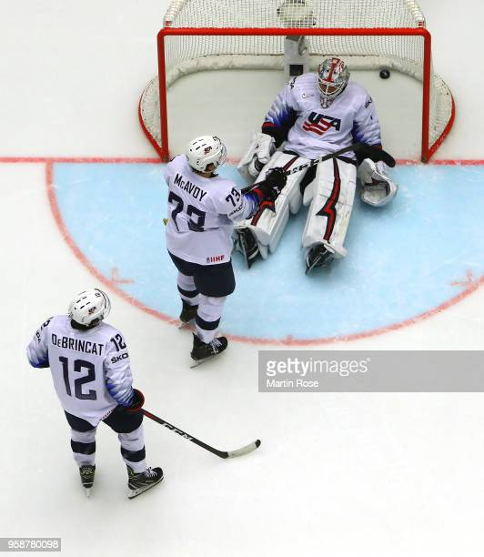 Keith Kinkaid goaltender of the United States Alec Martinez and Alex Debrincat react during the 2018 IIHF Ice Hockey World Championship Group B game...