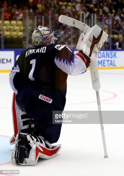 Keith Kinkaid goaltender of United States reacts during the 2018 IIHF Ice Hockey World Championship group stage game between United States and...