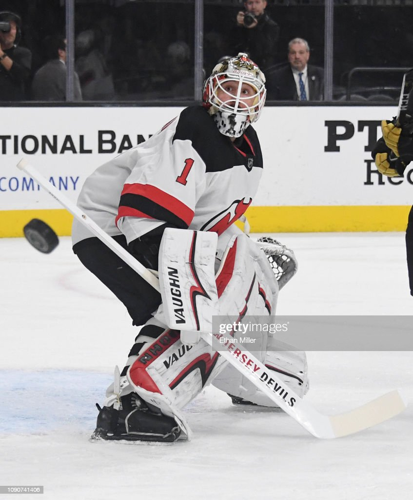 online store a1ef8 7fdf6 Keith Kinkaid of the New Jersey Devils blocks a Vegas Golden ...