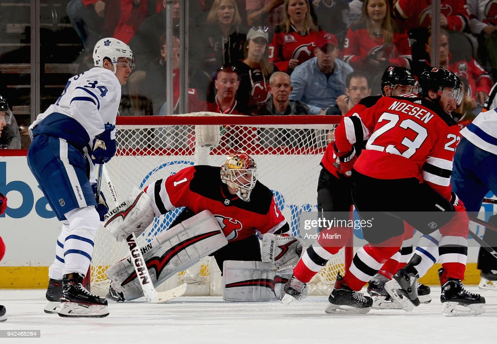 Keith Kinkaid #1 of the New Jersey Devils defends his net during the game against the Toronto Maple Leafs at Prudential Center on April 5, 2018 in Newark, New Jersey.