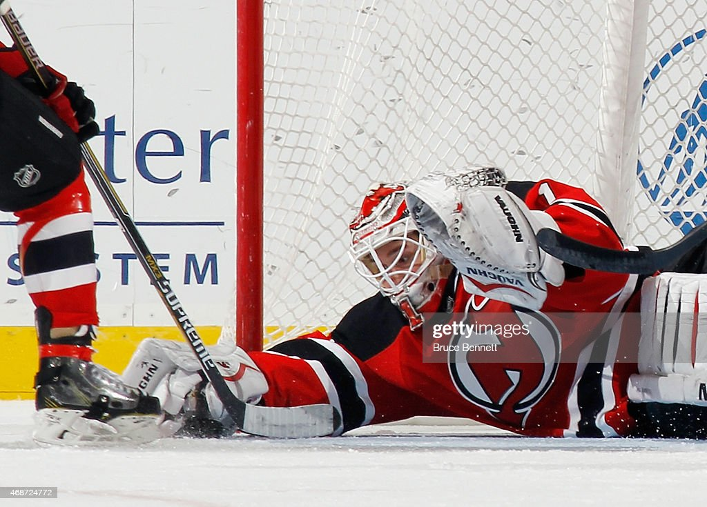 Keith Kinkaid #1 of the New Jersey Devils skates against the Montreal Canadiens at the Prudential Center on April 3, 2015 in Newark, New Jersey. The Devils defeated the Canadiens 3-2 in the shoot out.