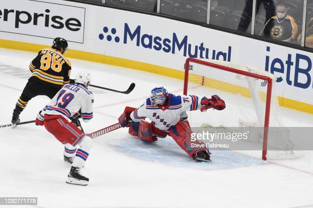 Keith Kinkaid of the New York Rangers in the net during the third period against the Boston Bruins at the TD Garden on May 8, 2021 in Boston,...