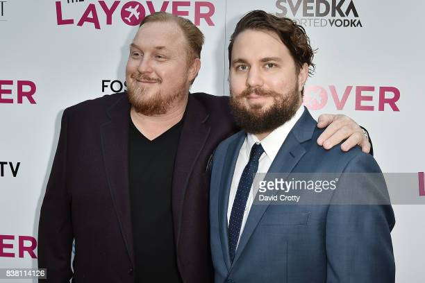 Keith Kjarval and Tyler Jackson attend the Premiere Of DIRECTV And Vertical Entertainment's 'The Layover' Arrivals at ArcLight Cinemas on August 23...