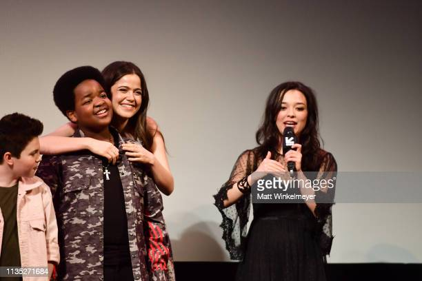 Keith L Williams Molly Gordon and Midori Francis attend the Good Boys Premiere 2019 SXSW Conference and Festivals at Paramount Theatre on March 11...