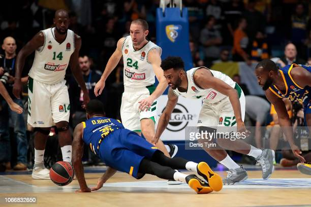 Keith Langford #5 of Panathinaikos OPAP Athens and Dee Bost #3 of Khimki Moscow Region in action during the 2018/2019 Turkish Airlines EuroLeague...