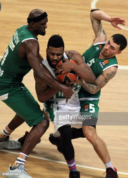 Keith Langford #5 of Unics Kazan competes with Chris Singleton #0 and Mike James #5 of Panathinaikos Superfoods Athens during the 2016/2017 Turkish...