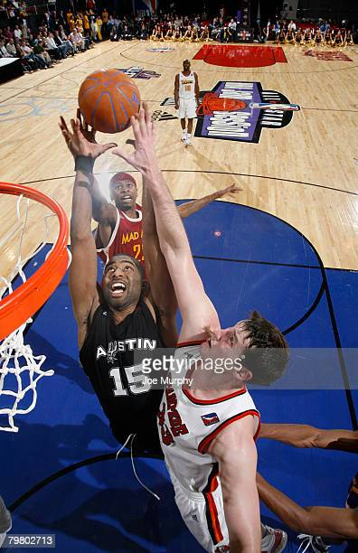 Keith Langford of the Blue Team fights for a rebound against Lance Allred from the Red Team during the DLeague AllStar Game presented by Spalding on...