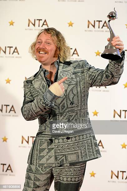 Keith Lemon winner of the Multi Channel National Television award for Celebrity Juice poses in the winners room at the National Television Awards at...