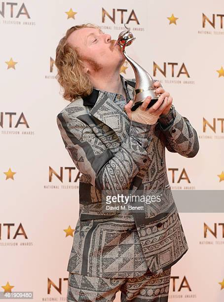 Keith Lemon winner of the Multichannel award for 'Celebrity Juice' poses in the winners room at the National Television Awards at 02 Arena on January...