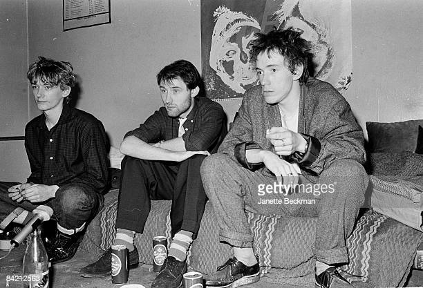 Keith Levene Jah Wobble and John Lydon of Public Image Ltd at their London apartment 1981