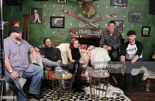 Keith Loneker,Frances Fisher,Chad Michael Murray,Francesca Eastwood ,Ben Browder, and Director J.T. Mollner from the film 'Outlaws and Angels' posed...