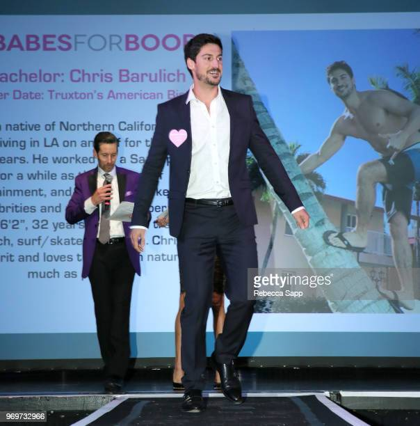 Keith McClane and participating Bachelor attend Babes for Boobs Live Auction Benefiting Susan G Komen LA at El Rey Theatre on June 7 2018 in Los...