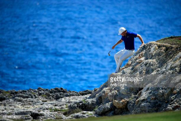 Keith Mitchell checks the lie of his ball from the rough on the eighth hole during the second round of the Corales Puntacana Resort Club Championship...