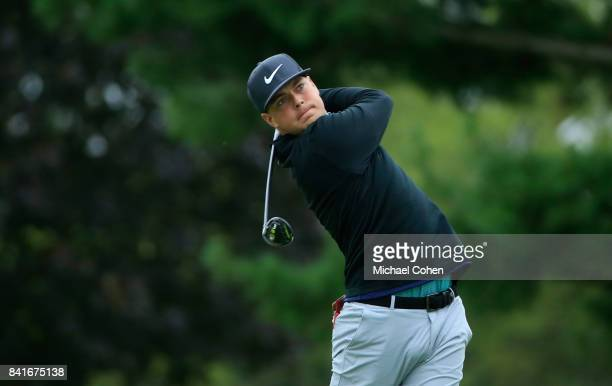 Keith Mitchell hits his drive on the 11th hole during the second round of the Nationwide Children's Hospital Championship held at The Ohio State...
