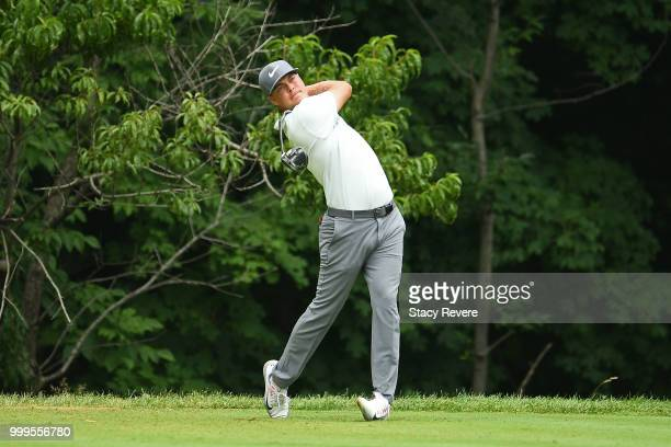 Keith Mitchell hits his tee shot on the second hole during the final round of the John Deere Classic at TPC Deere Run on July 15 2018 in Silvis...