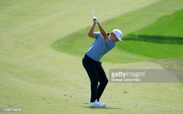 Keith Mitchell of the United States hits his second shot on the 16th hole during The Open Qualifying Series part of the Arnold Palmer Invitational at...