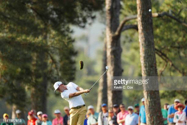 Keith Mitchell of the United States plays a shot on the first hole during the first round of the Masters at Augusta National Golf Club on April 11...