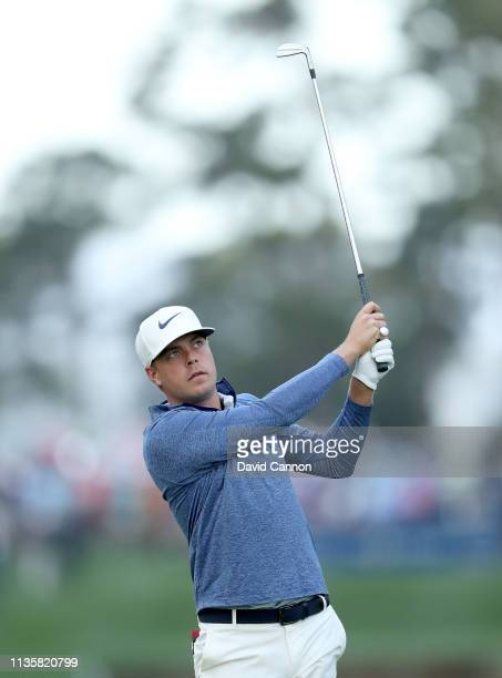Keith Mitchell of the United States plays his second shot on the par 4 10th hole during the first round of the 2019 Players Championship held on the...