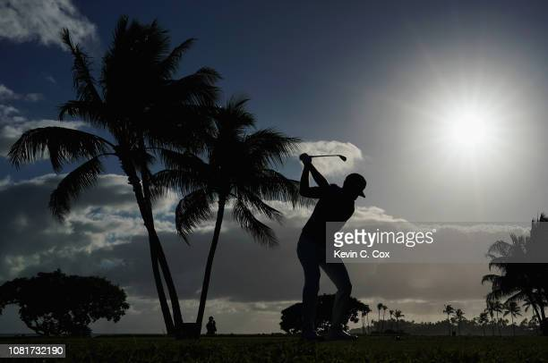 Keith Mitchell of the United States plays his shot from the 17th tee during the third round of the Sony Open In Hawaii at Waialae Country Club on...