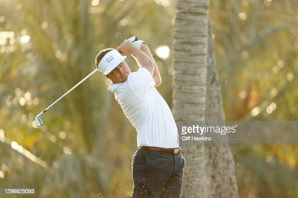 Keith Mitchell of the United States plays his shot from the seventh tee during the second round of the Sony Open in Hawaii at the Waialae Country...