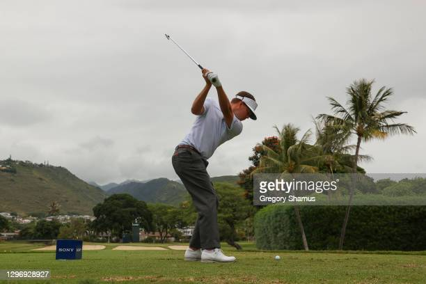 Keith Mitchell of the United States plays his shot from the seventh tee during the final round of the Sony Open in Hawaii at the Waialae Country Club...