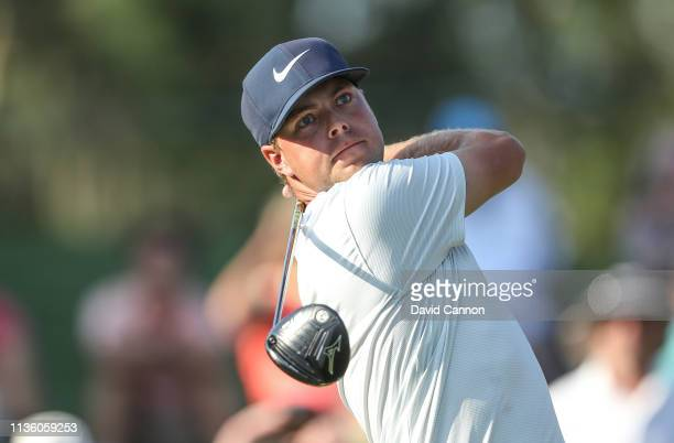Keith Mitchell of the United States plays his tee shot on the par 5 16th hole during the second round of the 2019 Players Championship held on the...