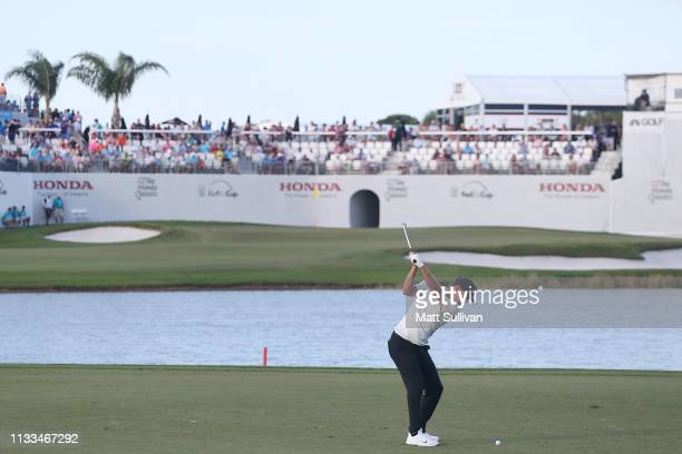 Keith Mitchell plays his second shot on the 16th hole during the final round of the Honda Classic at PGA National Resort and Spa on March 03 2019 in...