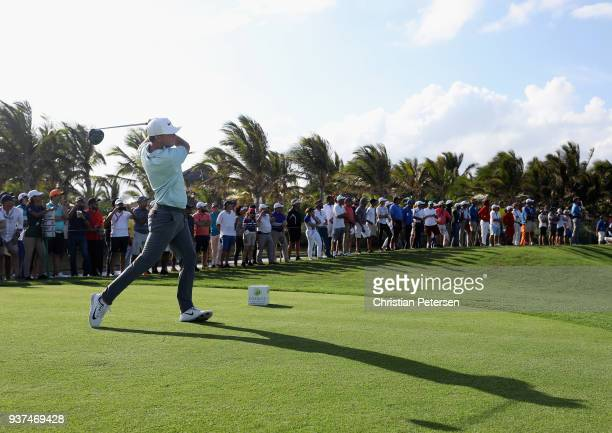 Keith Mitchell plays his shot from the 18th tee during round three of the Corales Puntacana Resort Club Championship on March 24 2018 in Punta Cana...