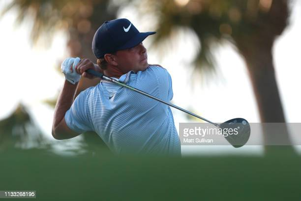 Keith Mitchell plays his shot from the 18th tee during the third round of the Honda Classic at PGA National Resort and Spa on March 02 2019 in Palm...