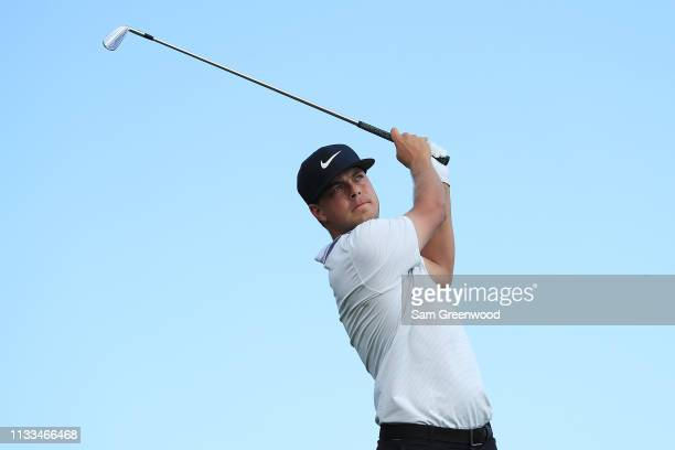 Keith Mitchell plays his shot from the fifth tee during the final round of the Honda Classic at PGA National Resort and Spa on March 03 2019 in Palm...