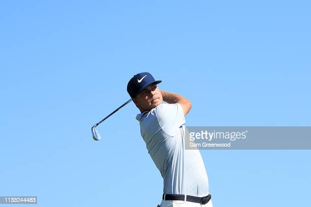 Keith Mitchell plays his shot from the fifth tee during the third round of the Honda Classic at PGA National Resort and Spa on March 02 2019 in Palm...