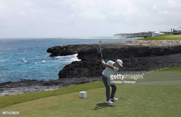 Keith Mitchell plays his shot from the ninth tee during round three of the Corales Puntacana Resort Club Championship on March 24 2018 in Punta Cana...