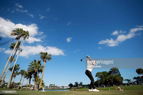 Keith Mitchell plays his shot from the ninth tee during the final round of the Honda Classic at PGA National Resort and Spa on March 03 2019 in Palm...