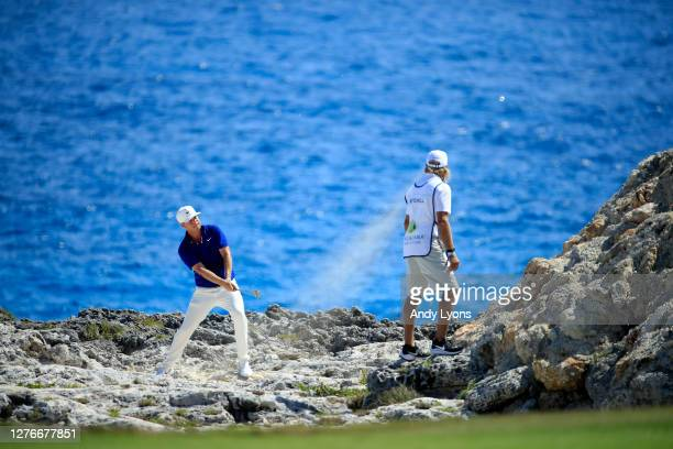 Keith Mitchell plays his shot from the rough on the eighth hole during the second round of the Corales Puntacana Resort Club Championship on...