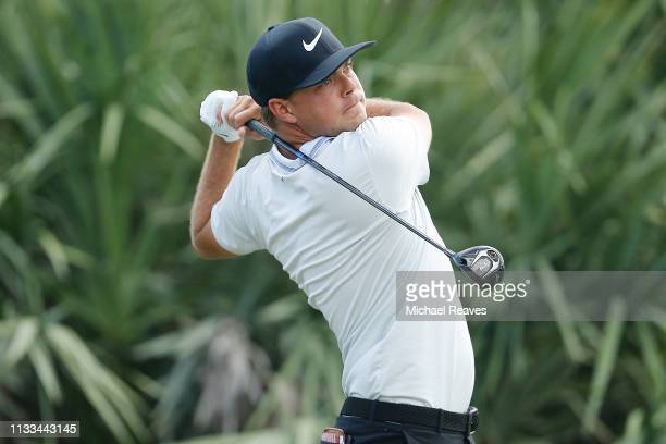 Keith Mitchell plays his shot from the second tee during the final round of the Honda Classic at PGA National Resort and Spa on March 03 2019 in Palm...