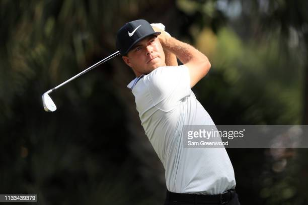 Keith Mitchell plays his shot from the seventh tee during the final round of the Honda Classic at PGA National Resort and Spa on March 03 2019 in...