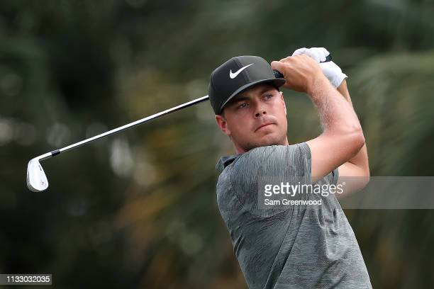 Keith Mitchell plays his shot from the seventh tee during the second round of the Honda Classic at PGA National Resort and Spa on March 01 2019 in...