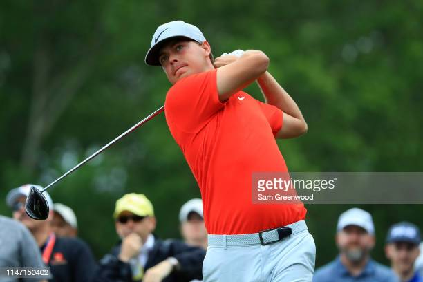 Keith Mitchell plays his shot from the third tee during the final round of the 2019 Wells Fargo Championship at Quail Hollow Club on May 05 2019 in...