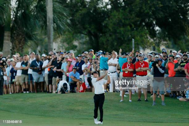 Keith Mitchell plays his third shot on the 18th hole during the final round of the Honda Classic at PGA National Resort and Spa on March 03 2019 in...