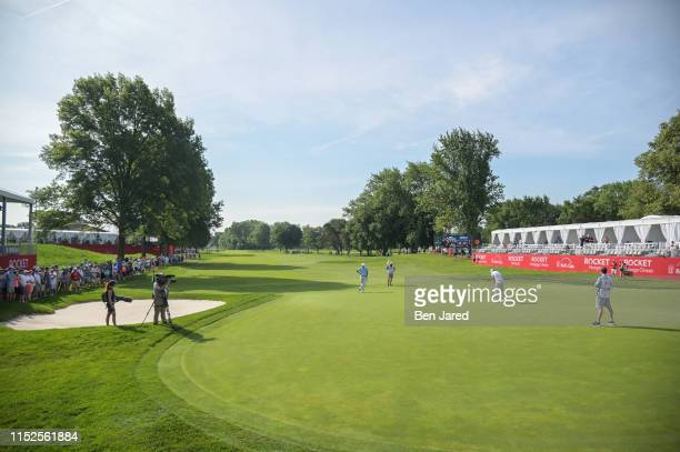Keith Mitchell putts on the seventeenth green during the second round of the Rocket Mortgage Classic at Detroit Golf Club on June 28, 2019 in...
