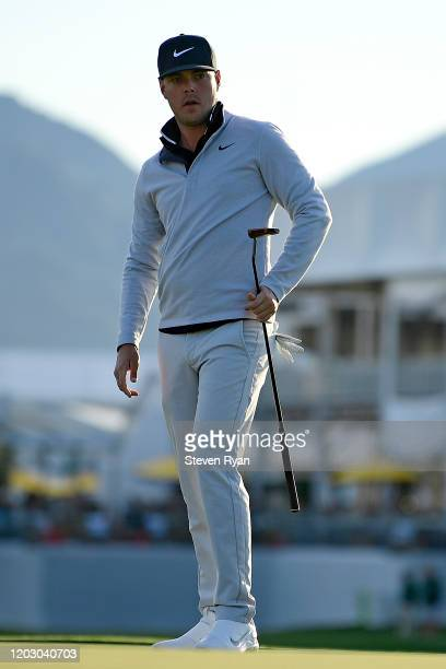 Keith Mitchell watches his putt on the tenth green during the first round of the Waste Management Phoenix Open at TPC Scottsdale on January 30 2020...