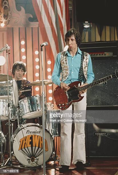 Keith Moon and Pete Townshend from English group The Who perform on the set of the Rolling Stones Rock and Roll Circus at Intertel TV Studio in...