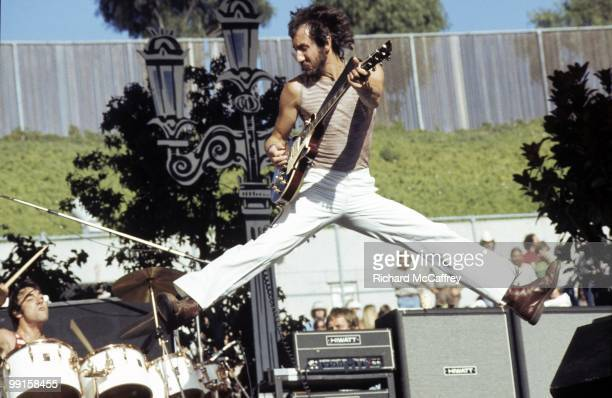 Keith Moon and Pete Townshend of The Who perform live at The Oakland Coliseum in 1976 in Oakland California