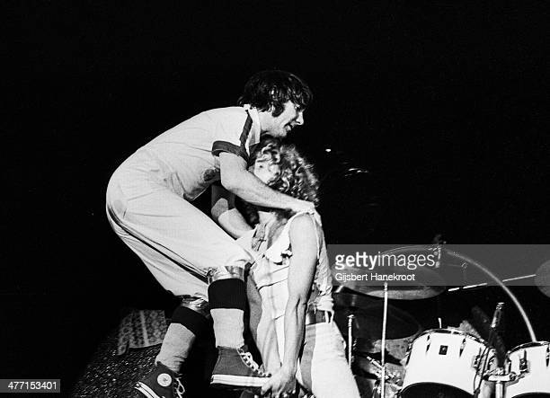 Keith Moon and Roger Daltrey of The Who on the stage at Ahoy in Rotterdam Netherlands on October 27 1975