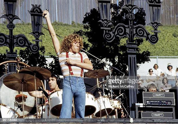 Keith Moon and Roger Daltrey of The Who perform live at The Oakland Coliseum in 1976 in Oakland California