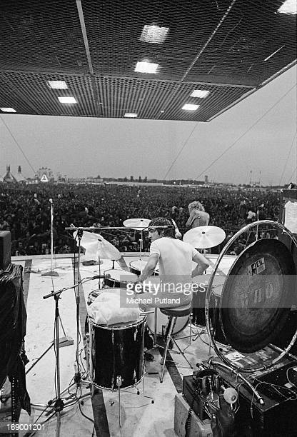Keith Moon and Roger Daltrey performing with English rock group The Who at the Fete de l'Humanite music festival Paris 9th September 1972