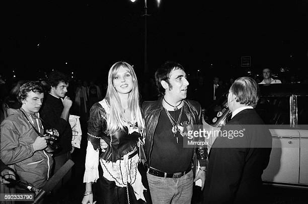 Keith Moon drummer of the British rock group The Who attending the premier of the new film 'The Buddy Holly Story' in the West End with fiancee...