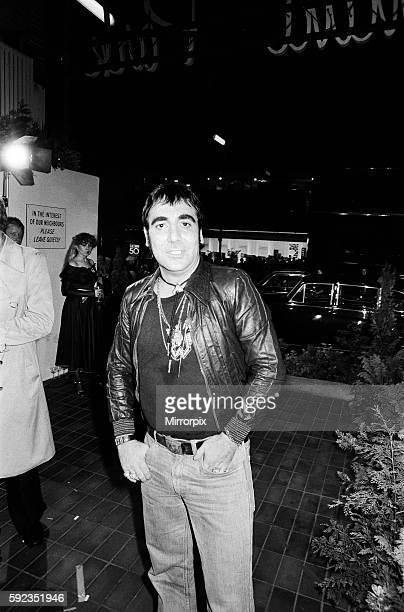 Keith Moon drummer of the British rock group The Who attending the the premier of the new film The Buddy Holly Story in the West End with fiancee...